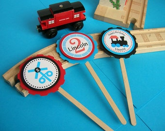 Choo Choo Train Birthday Cupcake Toppers Personalized Handmade (set of 12)