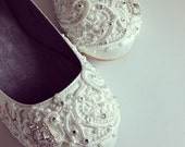 Wedding Shoes - French Knotwork Lace Closed Toe Flats - Pearls and Crystals - White/Ivory