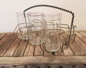Mid Century Brass Cup Holder with Tumblers
