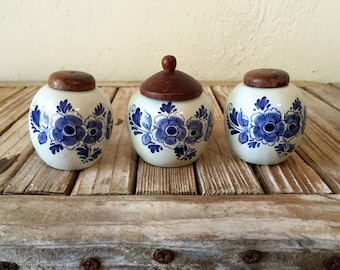 Vintage Delft Salt and Pepper Shakers