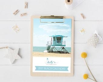 2017 Photo Desk Calendar, Beach Calendar, 5x7 Loose Leaf Calendar, Beach Photography, 12 Month Desk Calendar, Holiday Gift, Office Decor