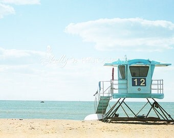 Beach Photography- Blue Lifeguard Stand, California Beach Photo, Blue Tan, Beach Decor, Summer Photo, Coastal Art, Number 12, Fine Art Print