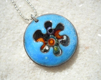 Colorful Enamel Pendant with silver color chain