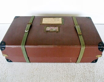 50s Shipping Container Mailing Box Celluloid Fiberboard Canvas Straps Address