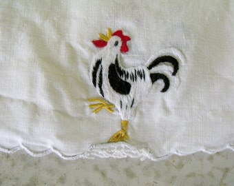 8  Napkins Embroidered Linen Chickens Vintage Tea Coasters Small Cocktail Doilies