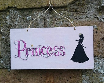 PRINCESS Wooden Hanging Sign Plaque Hand Painted Pink Princess Silhouette Gift