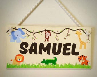 Jungle Animals Safari Personalised Wooden Hanging Sign Painted Name Plaque Nursery Sign