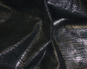 "Leather 12""x12"" Textured Silver Metallic FROST on BLACK Cowhide 2.5-3.25 oz / 1-1.3mm  PeggySueAlso TRIAL"