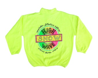 Rare 80s Neon High Wave Snow Snowboard Fleece Sweater - M / L