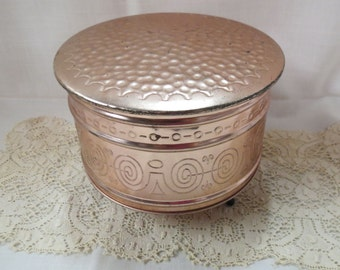 Vintage Copper Tone Box Footed Made In West Germany Candy Box Tea Box Tin