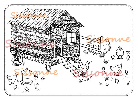 Chicken Coop Zentangle Inspired Coloring Page