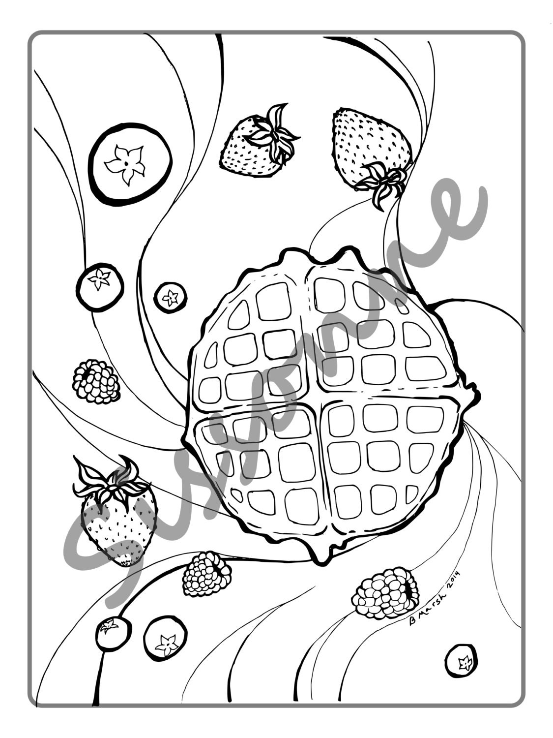 Waffle and berry breakfast coloring page by blendandburnish for Waffle coloring page
