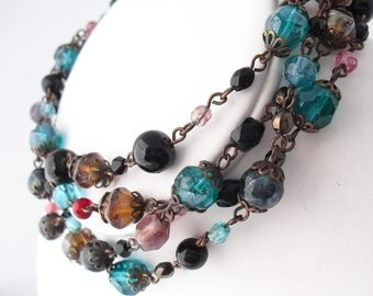 Art Glass Beads, Vintage Single Strand Necklace, 1930s Lariat Rosary Style