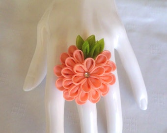 Pink Chrysanthemum Ring/ Kanzashi Inspired Flower Ring/ Statement Ring/ Corsage Ring/ Floral Jewelry/ Fabric Jewelry/ Gift For Her/ OOAK