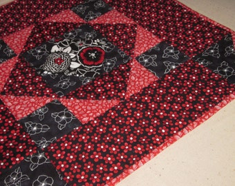 Quilted Red and Black Hexagon Table Topper