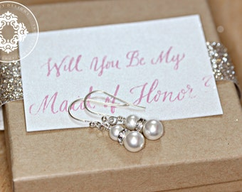 Bridal Jewelry, Swarovski Crystal Pearl  earrings, wedding Earrings, bridal party, Personalized Bridal party gifts, by JewlesDesigns on Etsy