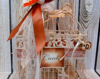 ONE OF A Kind / Ready to Ship / Large Ivory Fall Wedding Birdcage Card Holder / Wedding Card Box / Fall Wedding Decor / Ivory Birdcage
