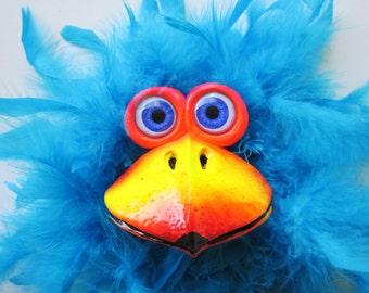 Whimsical bird-Home decor bird-bird sculpture-colorful animal-colorful bird-bird art-parrot-funny bird art