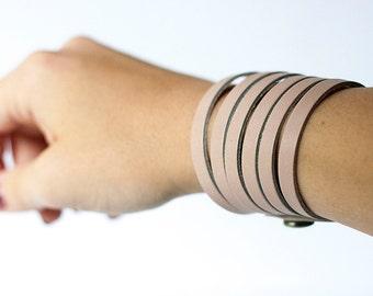 Leather Bracelet / Original Sliced Cuff / Soft Blush