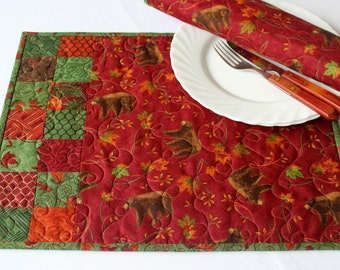 Bear Placemats, Quilted Fall Place Mats, Red Green, Maple Leaves, Autumn Table Mats, Set of 2 Placemats, Quiltsy Handmade
