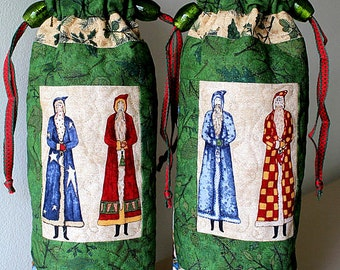 Wine Bottle Bag, Christmas Wine Bag, Wine Bottle Gift Bag, Quilted Drawstring Bag, Wine Bottle Cozy, Wine Bottle Tote, Quiltsy Handmade