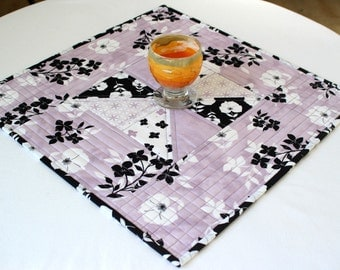 Quilted Table Topper, Candle Mat, Black White Lavender, Floral Summer Table Topper, Square Table Topper, Handmade, Quiltsy Handmade