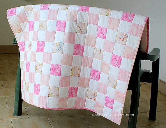 Pink Baby Quilt, Crib Quilt, Baby Girl Quilt, Baby Blanket, Pink Nursery Throw, Baby Shower Gift, Handmade Baby Quilt