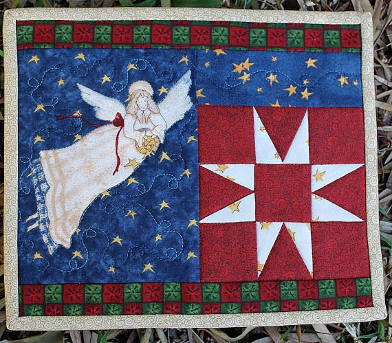 Christmas mug rug angel quilted by