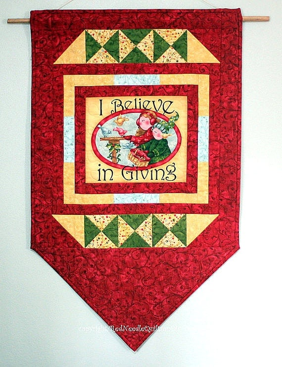 Christmas wall hanging quilted door banner red quilt