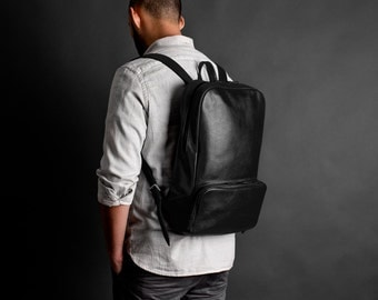 Leather backpack, leather rucksack, laptop backpack // MANGART (Black)