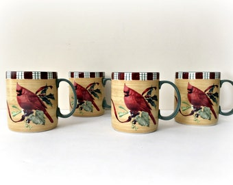 Lenox Winter Greetings Cardinal Holiday Coffee Mugs