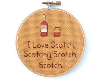 I Love Scotch - Anchorman Quote - Funny Cross Stitch Hoop