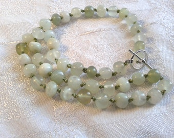 Chinese Jade Bead Necklace, OOAK, Handmade, Sterling Silver Clasp.