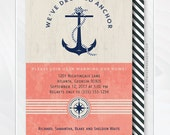 Nautical Beach Anchor Housewarming Invitation - Anchor Moving Announcement - Address Change - Navy Blue - Coral - Printable Digital File