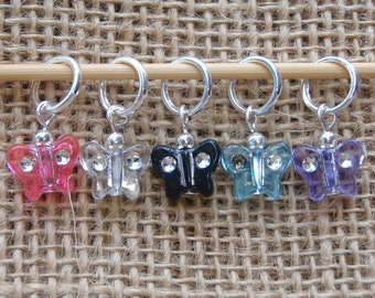 Disco butterfly stitch markers, set of five