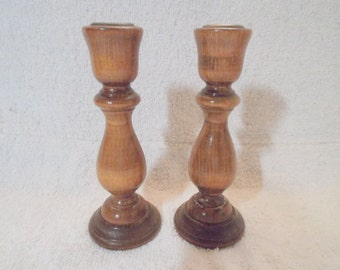 A Pair Of Handsome Vintage Wooden Candleholders