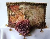 Victorian style wall lamp shade, side romabtic velvet lighting soft autom flowers colors with a large flowers, golden lace and crystal beads
