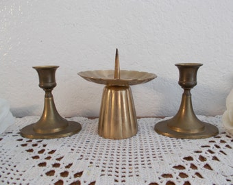 Vintage Gold Brass Unity Wedding Candle Holder Set Taper Pillar Collection Mid Century French Country Farmhouse Retro Cottage Home Decor