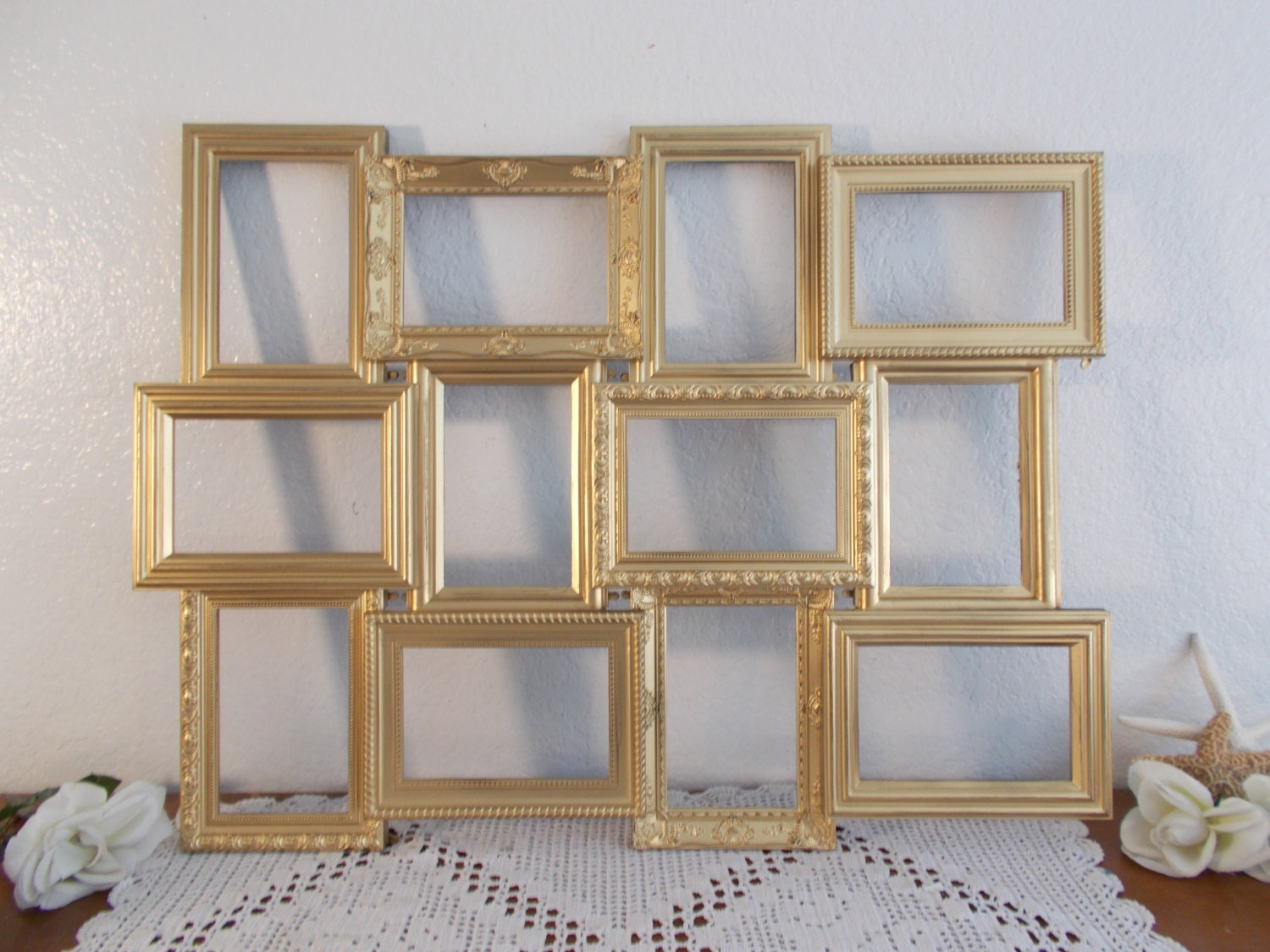 gold wedding seating chart collage frame ornate spring summer wedding reception centerpieces table decorations for a wedding reception