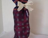 Deep Magenta Silk Wine Gift Bag, Drawstring Ribbon Wine Presentation Sack