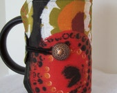 French Press Cosie, Bodum Coffee Press Cosy, Press Pot Sleeve, Green and red flower  Cosy cover