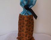 Teal and Orange Silk Wine Gift Bag, Drawstring Ribbon Wine Presentation Sack