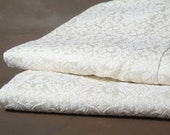 Vintage Sears Curtains Antique White Brocade Drapes 2 Panels
