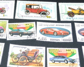 25 Car Stamps from around the World