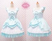 Turquoise Cute Jumper Skirt Sweetheart Neckline Sweet Lolita Dress - Kawaii - Girl Birthday Dress - Tea Party Dress - Custom to your size
