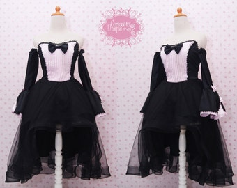 Gothic Long Tulle Skirt Dress With Detachable Sleeves in Soft Pink and Black Satin- Gothic Party Costume - Gothic Lolita Dress