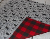Deer and Buffalo Plaid Rustic Flannel Baby Crib Blanket
