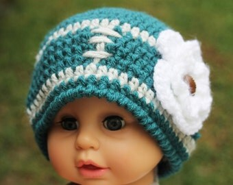Philadelphai Eagles inspired Football beanie with white flower Girl size 19 inches 12 to 24 months