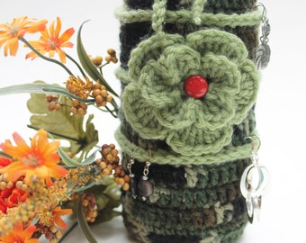 Bottle cozy EARRING storage display wine bottle bag Camo greens Flower Crochet