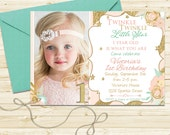 Twinkle Twinkle Little Star Invitation Girl Pink and Gold Glitter Invitation Birthday Party Invite First 1st Birthday Invite